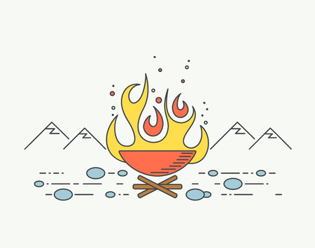turista: Ilustra��o gr�fica fogueira, lineart fogo tur�stica. Ilustra��o