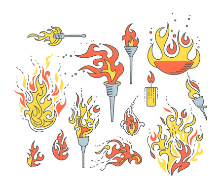 torch flame: Set of isolated flame vector objects, cartoon linear fire symbols.