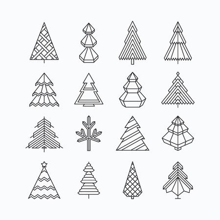 boom: Grafische kerstboom set, hipster lineaire stijl