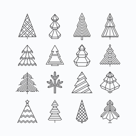 Graphical Christmas tree set, hipster linear style Vettoriali