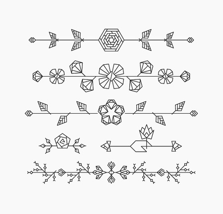 Hipster geometrical flowers, floral decorative design elements, set of isolated ornamental headers, dividers Illustration