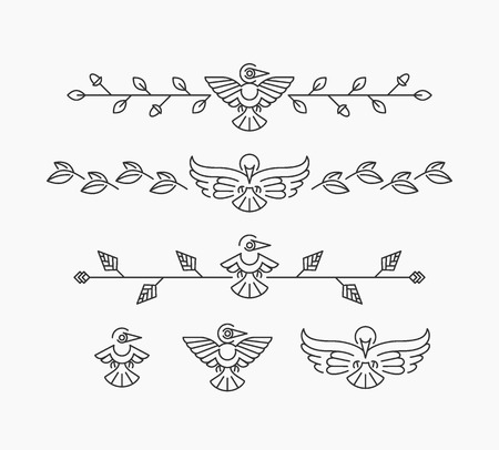 vignettes: Set of linear design elements with birds, isolated birds and dividers Illustration