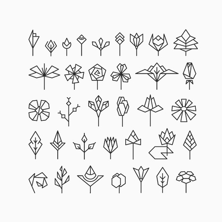 Hipster geometrical flowers, floral design elements, set of isolated symbols, signs.