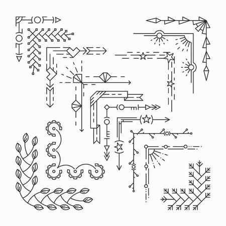 elementos: Conjunto de esquinas de línea aislados, estilo inconformista elementos decorativos lineales