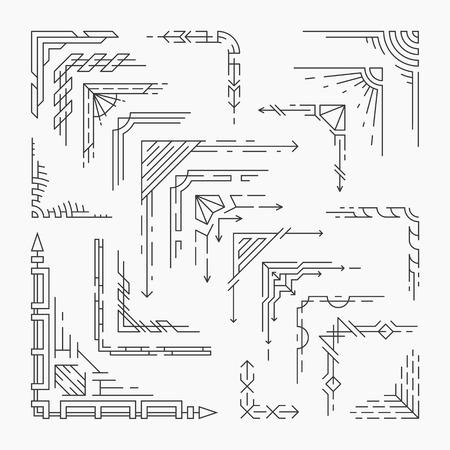 decoratif: Ensemble de coins de ligne isolés, des éléments décoratifs linéaires de style hipster Illustration