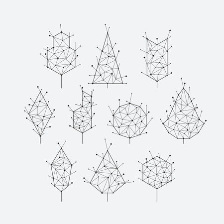 Polygonal grid graphical set of isolated vector trees, monochromatic. Illustration