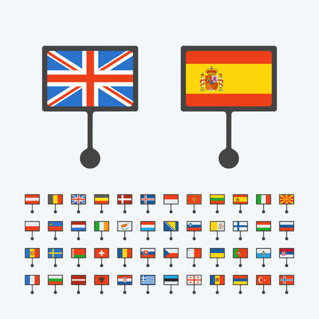 all european flags: Europe flags, set of vector flat icons of 48 european countries, pointers for infographics.