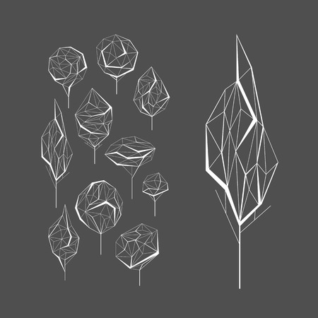 monochromatic: Polygonal graphical set of isolated vector trees, monochromatic.