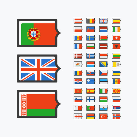 48: Europe flags, set of vector flat icons of 48 european countries, pointers for infographics.