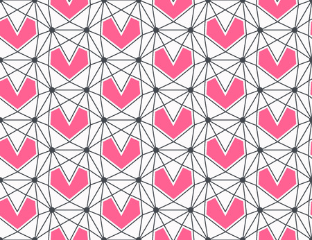 love wallpaper: Seamless geometrical heart pattern, hipster love polygonal background, romantical wallpaper.