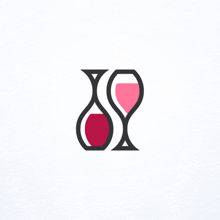 taster: Wine bottle and glass symbol, isolated bar sign, logo.