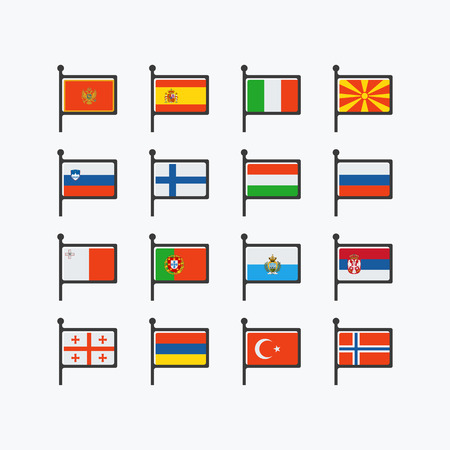 europe flags: Europe flags, set of vector flat icons, part 3 Illustration