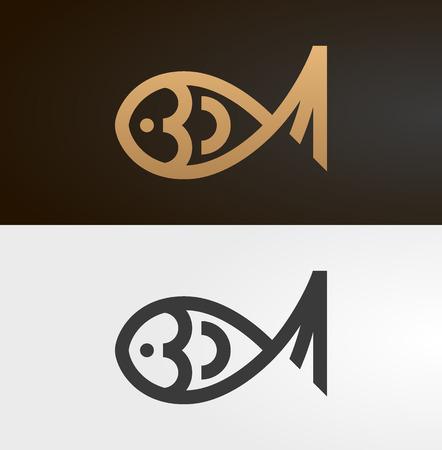 Vis lijn pictogram, logo.
