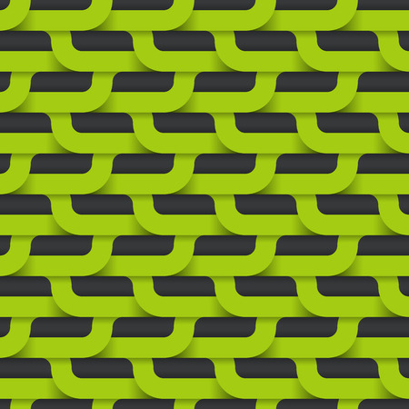 wickerwork: Vector seamless pattern, abstract green layout