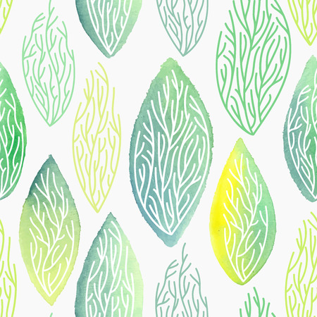 leafage: Seamless hand drawn vector watercolor pattern with leaves and leafage structure.