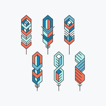 emplume: Conjunto de signos de plumas iconos. S�mbolos planas coloridas.