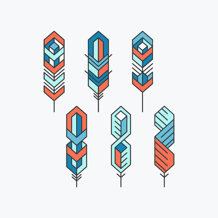 pen writing: Feather sign icons set. Colorful flat symbols. Illustration