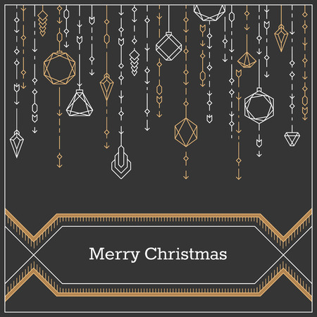black banner: Christmas postcard, art deco linear style new year background, banner with decorative xmas balls.
