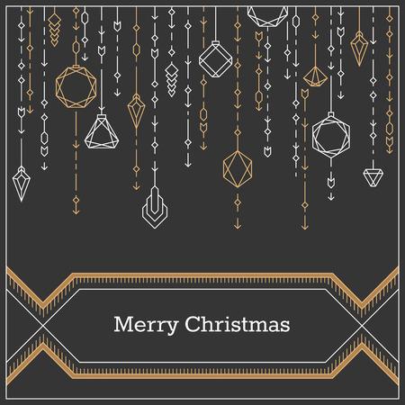 diamante negro: Postal de Navidad, arte lineal estilo deco año nuevo fondo, bandera, con bolas de Navidad decorativos.