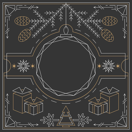vignettes: Christmas linear background, lineart postcard, hipster new year frame.