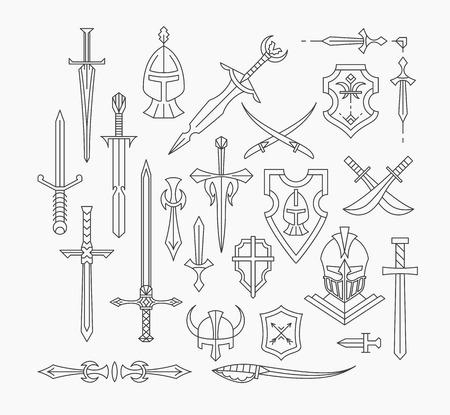 線形の中世の武器と盾、ライン単色孤立した歴史的なオブジェクトのセット。