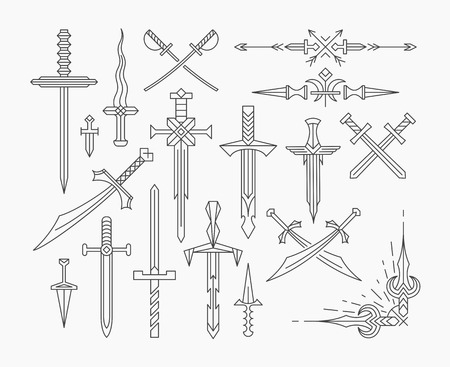 medieval sword: Set of linear historical weapon, isolated vector line swords