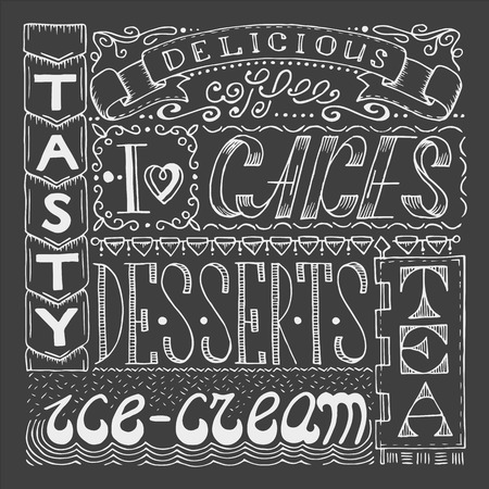 sweetshop: Hand drawn cafe poster with collage from different style words. Lettering design signboard for confectionery.