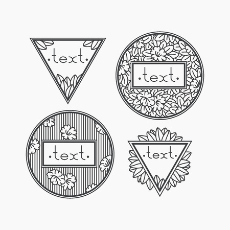 the petal: Set of isolated vector floral frames. Deco mono line hipster decorations. Illustration