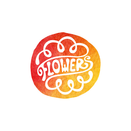 florist: Lettering logotype, sign flowers for florist company, isolated design element Illustration