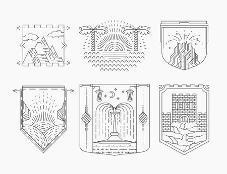 montagna: Località turistiche e attrazioni allineano emblemi, set di etichette monocromatiche lineari. Vettoriali