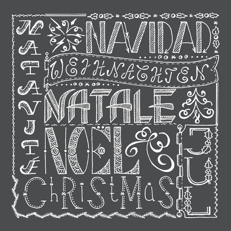 natale: Hand drawn Christmas poster collage with different languages. Illustration