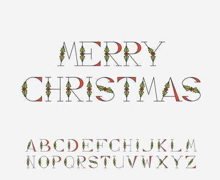 new year's cap: Decorative Christmas alphabet with mistletoe decorations for postcards and greetings.