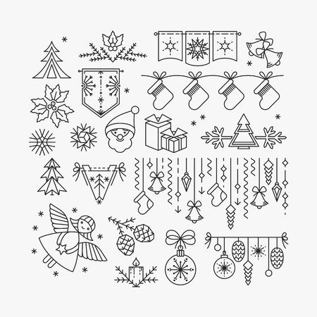natale: Set di icone linea e decorazioni di Natale, Capodanno oggetti isolato contorno.