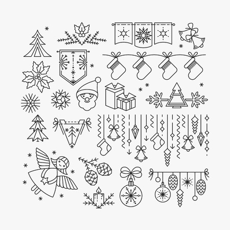 Set of line Christmas icons and decorations, new year isolated contour objects. Çizim