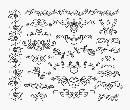 Thin mono line floral decorative design elements, set of isolated ornamental headers, dividers with leaves and flowers