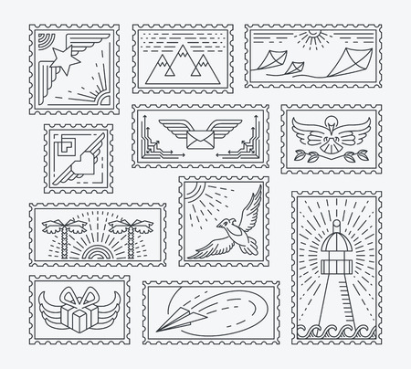 postage stamps: Set of line postage stamps. Isolated monochromatic collection, easy to change color. Empty contour postal decorations for letters and designs. Illustration
