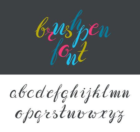italics: Brushpen latin font, based on hand drawn letters. Not auto-traced. Illustration