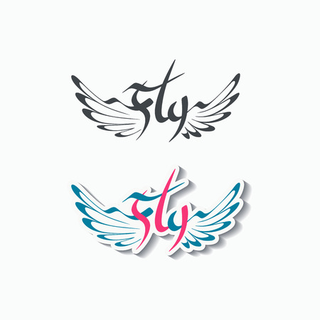 motivator: Word Fly with wings emblem, flight conceptual tattoo, based on hand drawn lettering, two variations, isolated on white. Illustration