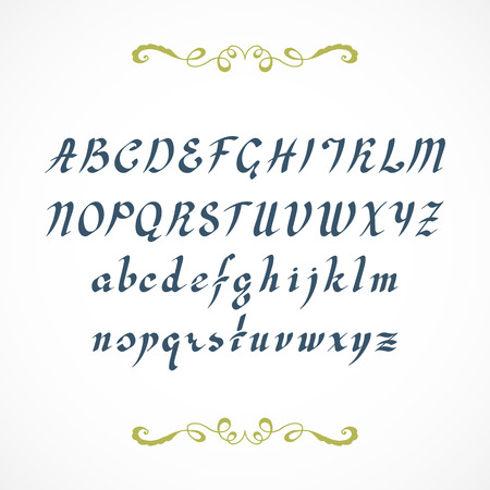 italics: Elegant cursive font, not auto traced, based on hand written by ink pen alphabet. Illustration