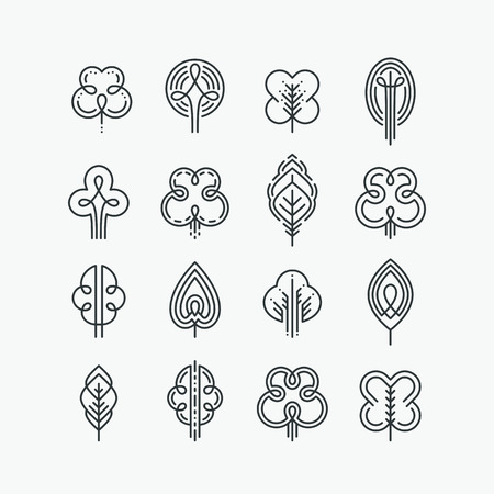 Set of graphical line trees and leaves, mono line design collection of nature signs and symbols.