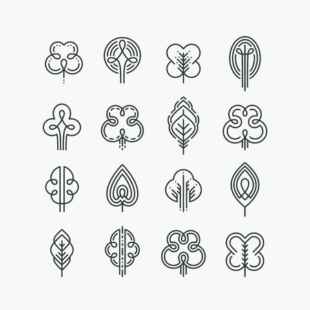Set van grafische lijn bomen en bladeren, mono line design collectie van de natuur tekens en symbolen. Stock Illustratie