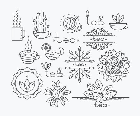tazza di te: Nei elementi lineari mono per il menu, pacchetto, disegno. Vector contorno piatta, emblemi. Decorazioni a base di erbe e fiori.