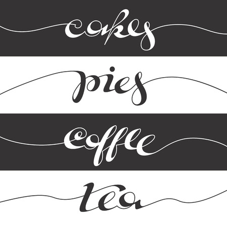 Hand written cafe poster. Lettering banner, placard, postcard or adverisement for confectionery. Ilustrace