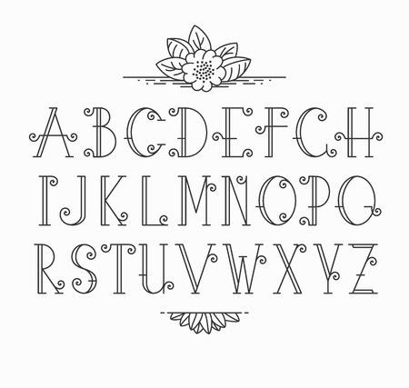 Vector mono line decorative font. Latin alphabet of vintage outline letters.