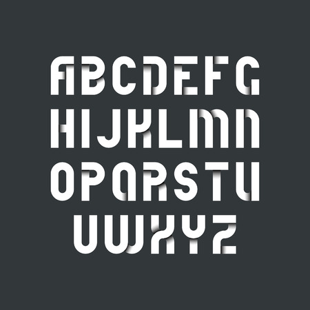White strict font for dark backgrounds, latin bold typeset with shadows inside letters.