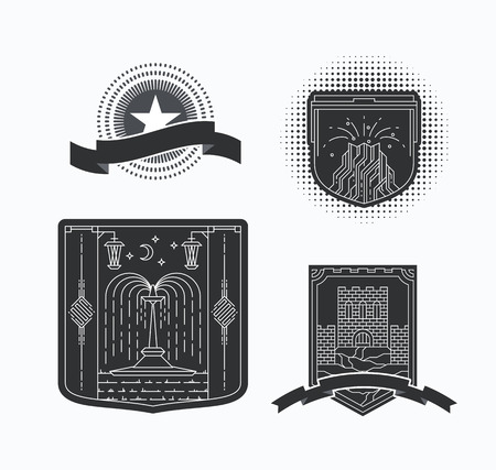 graphical: Line graphical emblems with contour resorts and sights illustrations. Historical linear emblems. Illustration