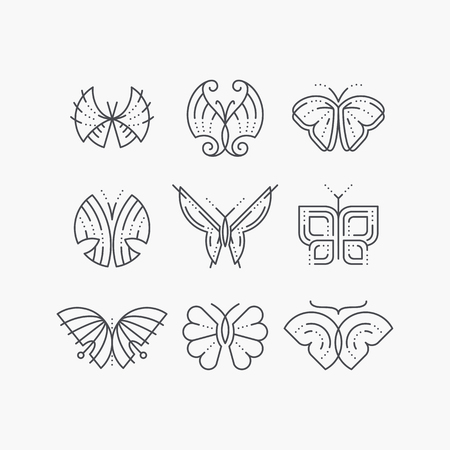 Vector set of line empty butterflies. Monochromatic graphical outline trendy icons, logos, marks.