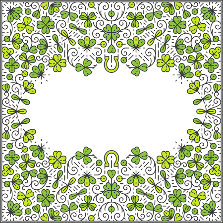 st  patrick day: St Patrick Day frame, ornamental line background, monoline style. Square pattern wallpaper, postcard, advertisement with empty place for text. Illustration