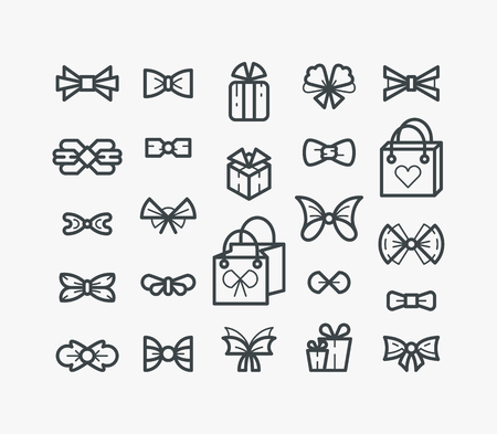monochromatic: Set of line outline icons, monochromatic: isolated bows, bowties, packets and gifts.