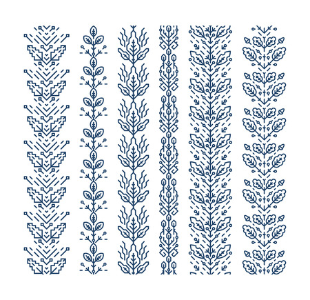 the petal: Set of seamless geometrical floral ornaments, decorative brushes, trendy mono line style, monochromatic empty outline patterns. Illustration